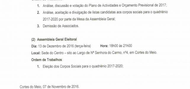 Assembleia-Geral Ordinária de 26 de Novembro 2016