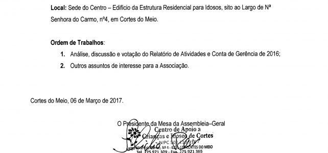 Assembleia-Geral Ordinária de 23 de Março 2017